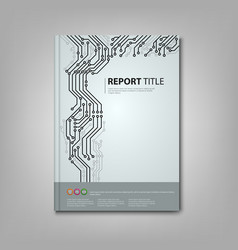 Brochure book with printed circuit board template vector image