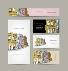 Business cards design with old city street sketch vector