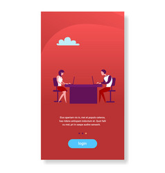 business woman and man sitting office desk working vector image