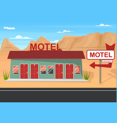 Cartoon roadside motel on a landscape background vector