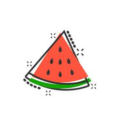 cartoon watermelon fruit icon in comic style ripe vector image