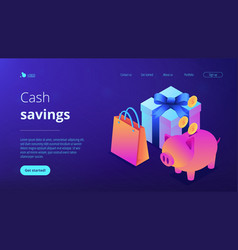 cash savings isometric 3d landing page vector image