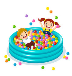 Children playing with colorful balls in ball pool vector