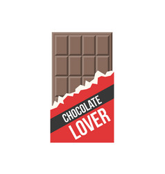 chocolate bar icon and badge chocolate lover vector image