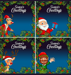 christmas night card template vector image