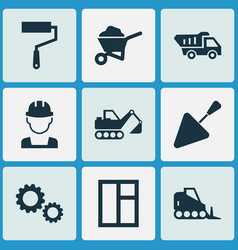 Construction icons set with wall painter vector
