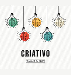 Creative teamwork ideas portuguese design concept vector
