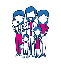 Cute family people together in blue image vector