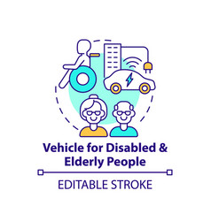 Disabled and eldery people vehicle concept icon vector