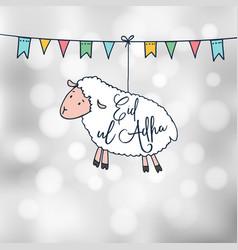 eid-ul-adha greeting card with hand drawn sheep vector image