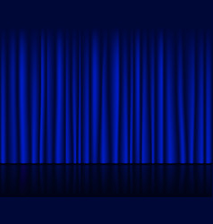 Empty stage with dark blue curtain seamless vector