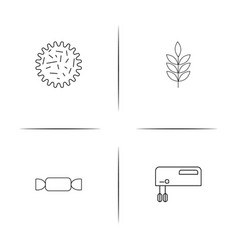 Food and drink linear simple icon setoutline icons vector