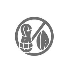 Forbidden sign with peanut groundnut free nut vector