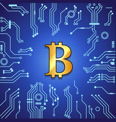 golden bitcoin currency on blue background vector image