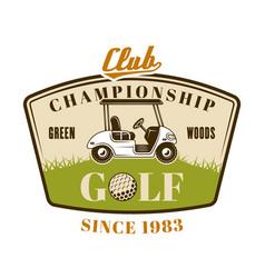 golf cart colored emblem badge logo vector image