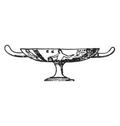 greek vase dish-like vessel vintage engraving vector image