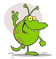 Green Alien Smiling And Gesturing The Peace Sign vector image
