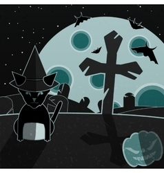 Green and gray halloween landscape vector