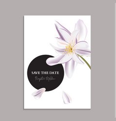 Greenery soft violet magnolia greeting card vector
