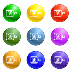 grill pan icons set vector image