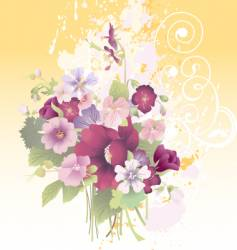 grunge floral composition vector image
