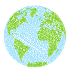 hand drawn globe vector image