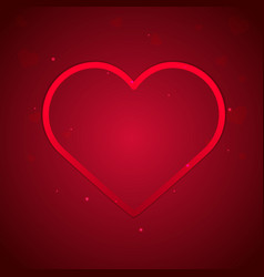 happy valentines day heart on red background vector image vector image