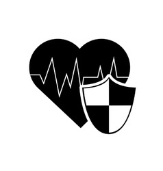 heart cardiogram and shield icon vector image