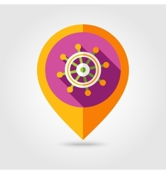 Helm flat mapping pin icon with long shadow vector