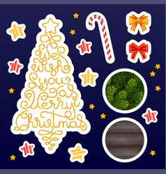 Holiday gift stickers with hand lettering we wish vector