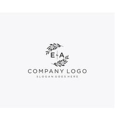 Initial ea letters floral frames monogram wedding vector