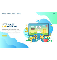 keep calm and game on website landing page vector image