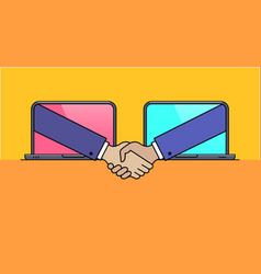 laptops with hand shaking gesture vector image