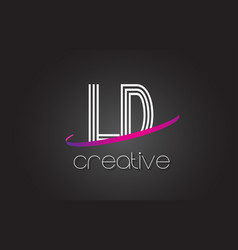 ld l d letter logo with lines design and purple vector image