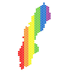 lgbt spectrum dotted sweden map vector image