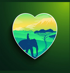 man love traveling riding at elephant in africa vector image