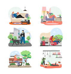 people reading interesting books at home in city vector image