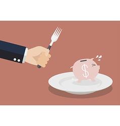 Piggy bank run away from big hungry man vector image