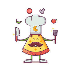 pizza cooker mascot in cooking hat vector image