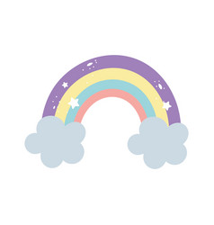 rainbow cloud stars decoration bright cartoon vector image