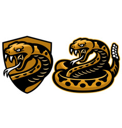 Rattle snake mascot in set vector