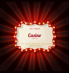 retro light sign casino signage vector image