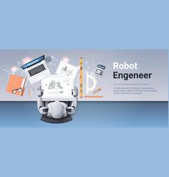 Robotic architect drawing blueprint building plan vector