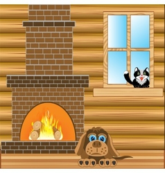 Room with heater vector image vector image