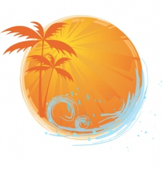 round banner with palm trees vector image
