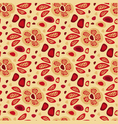 seamless floral pattern with red leaves vector image