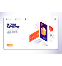 secure payment isometric concept mobile online vector image