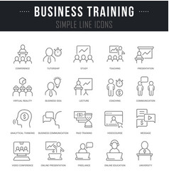 set line icons business training vector image