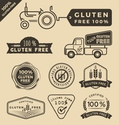 Set of gluten free food certified label logo vector