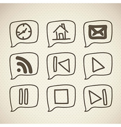 Sketches icons with brown lines vector
